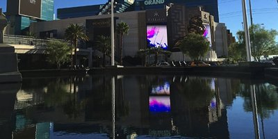 Gelcoat application on a reflection pool in Las Vegas New York New York Casino