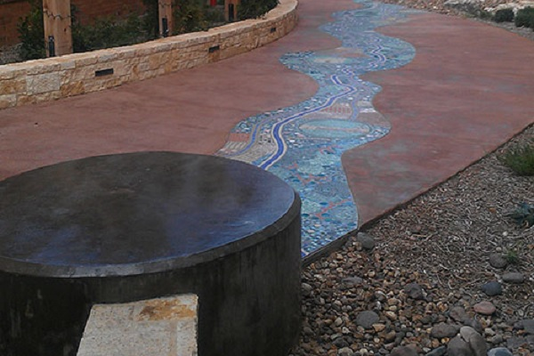 Decorative concrete on the mission trail at the Baptis Hospital in San Antonio.