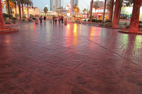 Stamped concrete on the Vegas Strip
