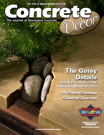 Concrete Decor magazine cover from August / September 2010