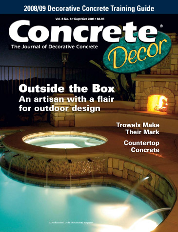 Concrete Decor magazine cover from September / October 2008 Photo courtesy of greenscenelandscape.com