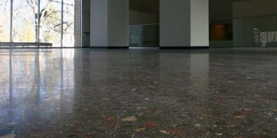 Polished concrete floor with aggregate trucked from nearby areas to give perfect effect.