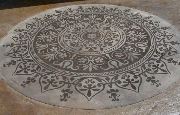 Beautiful stenciled concrete work done on a concrete floor.