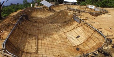 Construction of skatepark in Puerto Rico using rebar and concrete