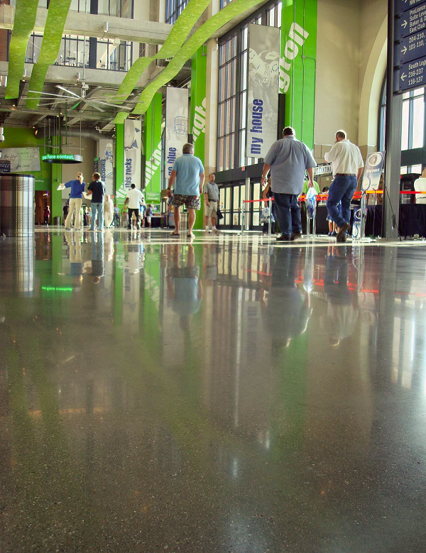 Looking at the pristine flooring today in Lucas Oil Field Stadium, home of the Indianapolis Colts, you'd never guess the fl oors used to be stained and pitted, much less that they looked that way a year after the facility opened. ACCI was hired to remedy the situation with the RetroPlate concrete polishing system.