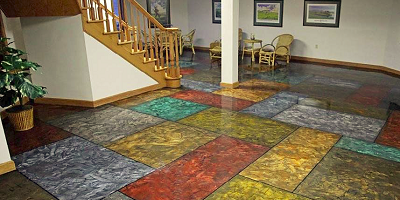 The end result was a floor made with hand-shaped rectangular stones, each individually colored so that no two would look exactly the same.