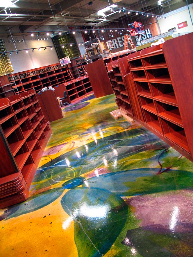 """Until dyes came on the scene, coloring polished concrete was a bit of a challenge — the act of polishing tends to prohibit the chemical reaction in reactive stains Photo courtesy of Mike Miller, The Concretist"