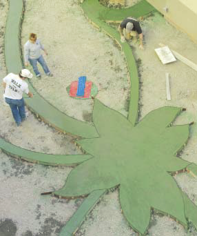 An aerial view of the concrete forms that create the aloe vera plant shape in this courtyard.