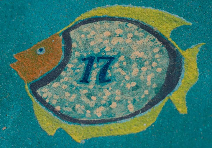 Water based paint fish on Concrete playground.