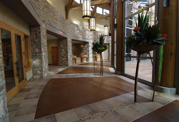 Grand Courtyard using multiple decorative concrete applications