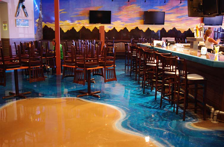 Sand and water look on this restaurant floor done in epoxy overlay systems.