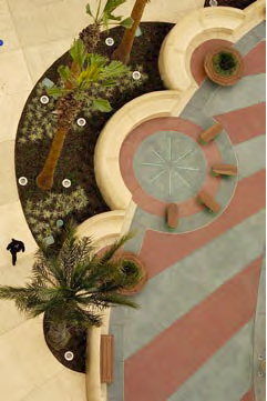 Aerial view of a concrete patio that has palm trees planted in the planter built at the edge.