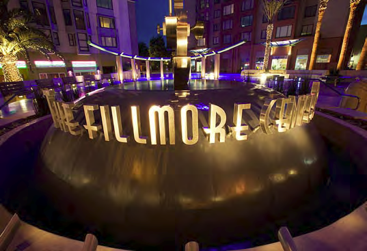 The Fillmore Center statue in front of the center.