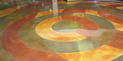 Concrete dyes by Clemons Concrete Coatings placed on concrete