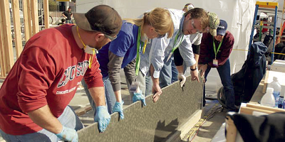 A group of CIM students work with decorative concrete manufacturer.
