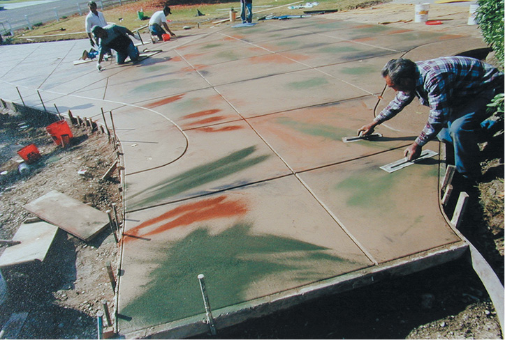 Using color hardners on concrete to create a one of a kind look on a driveway