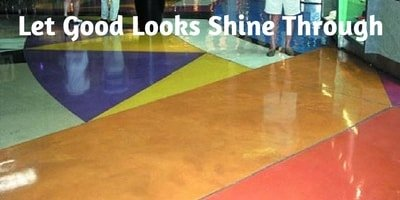 Staining concrete doesn't deliver a specific color because it is a reactionary process with the concrete. Beautiful multi-color stained concrete floor in a shopping mall.