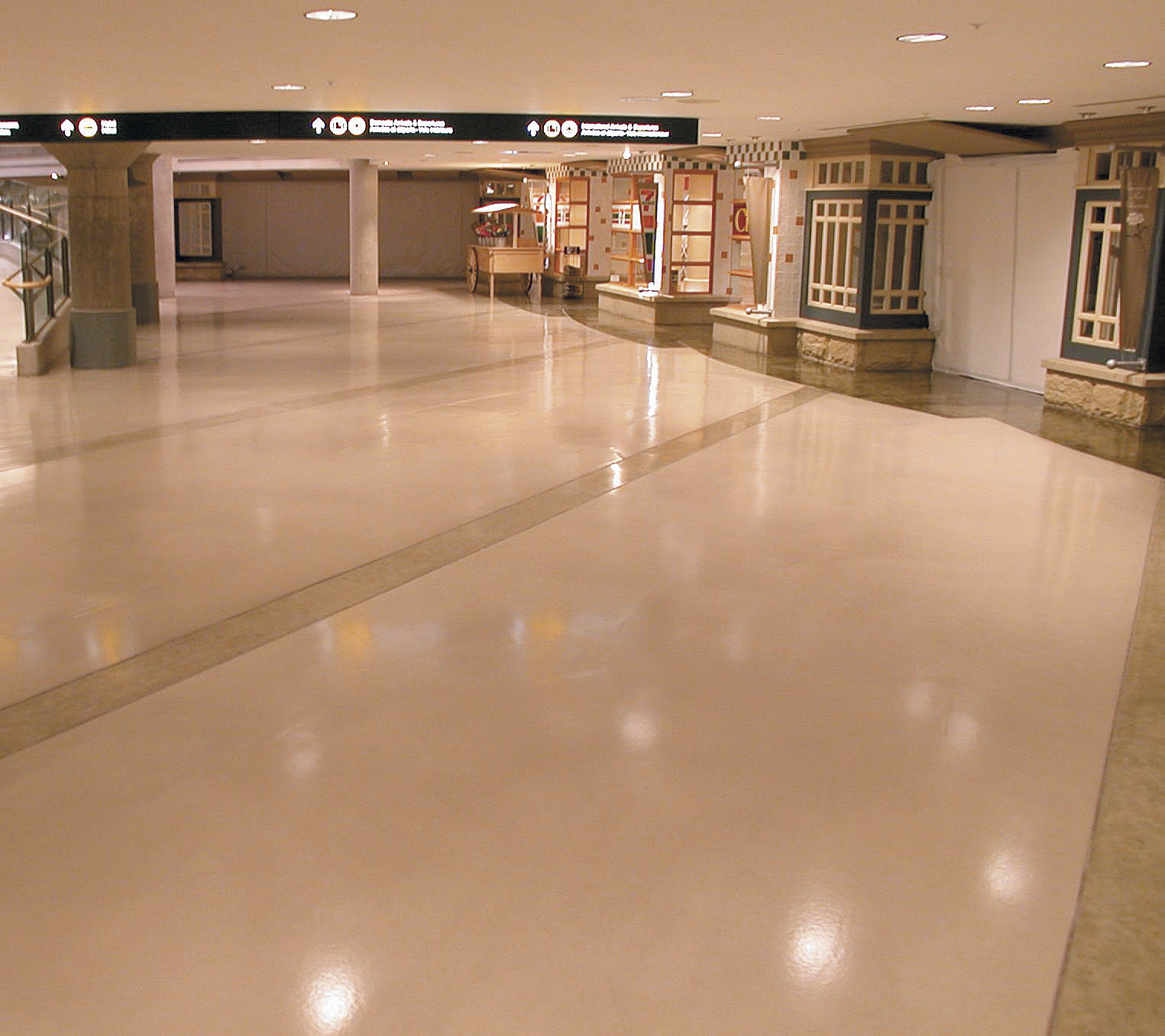 Vancouver International Airport Domestic Terminal gets a major renovation with this decorative concrete treatment.