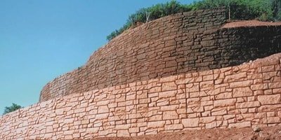 large scale colored concrete retaining wall