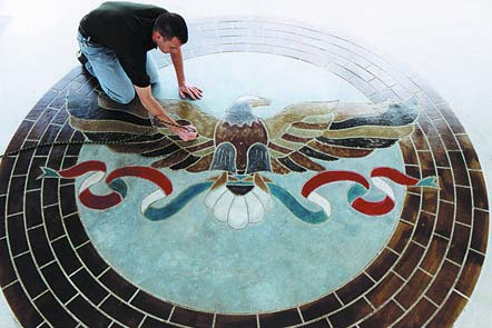 Engrave-A-Crete created an eagle with an 8 foot 4 inch wingspan using an engraver as well as stains of various colors.