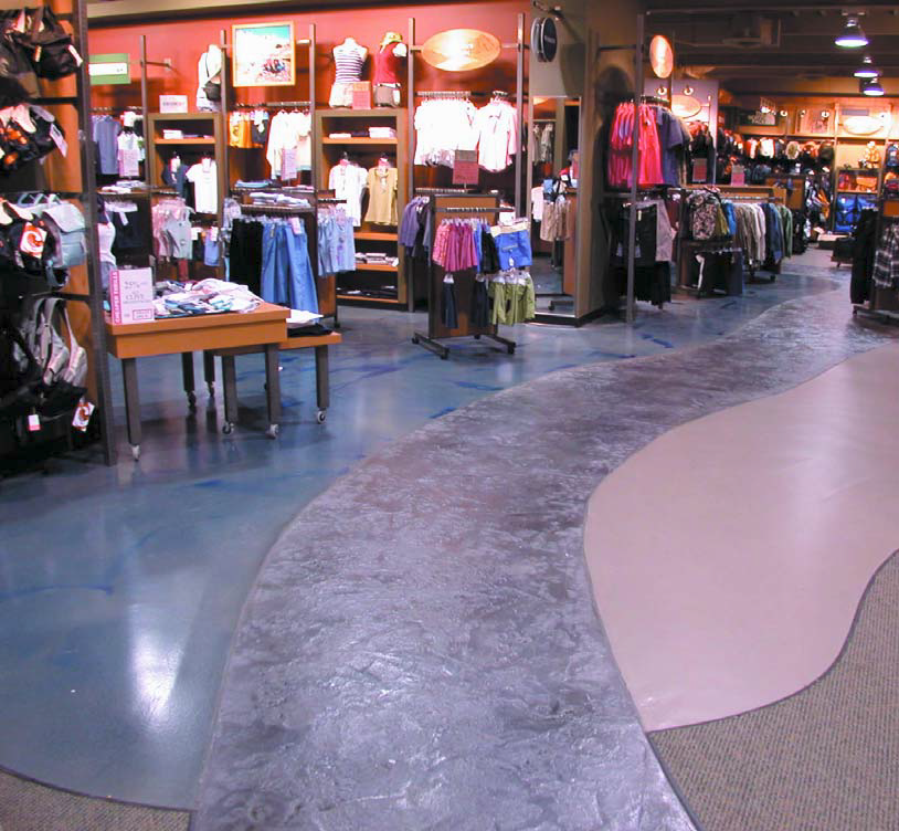 Retail spaces have a lot of high-traffic. Decorative concrete applications are great as a source of both warmth and durability.