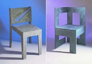 modern designed concrete chairs by Kaldari in a natural gray concrete tone