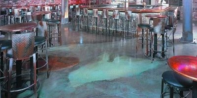 stained concrete by Tina Anderson in a restaurant