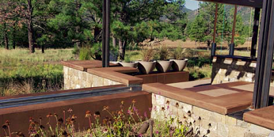 The finish on this water feature was achieved using a handful of soy-based products.