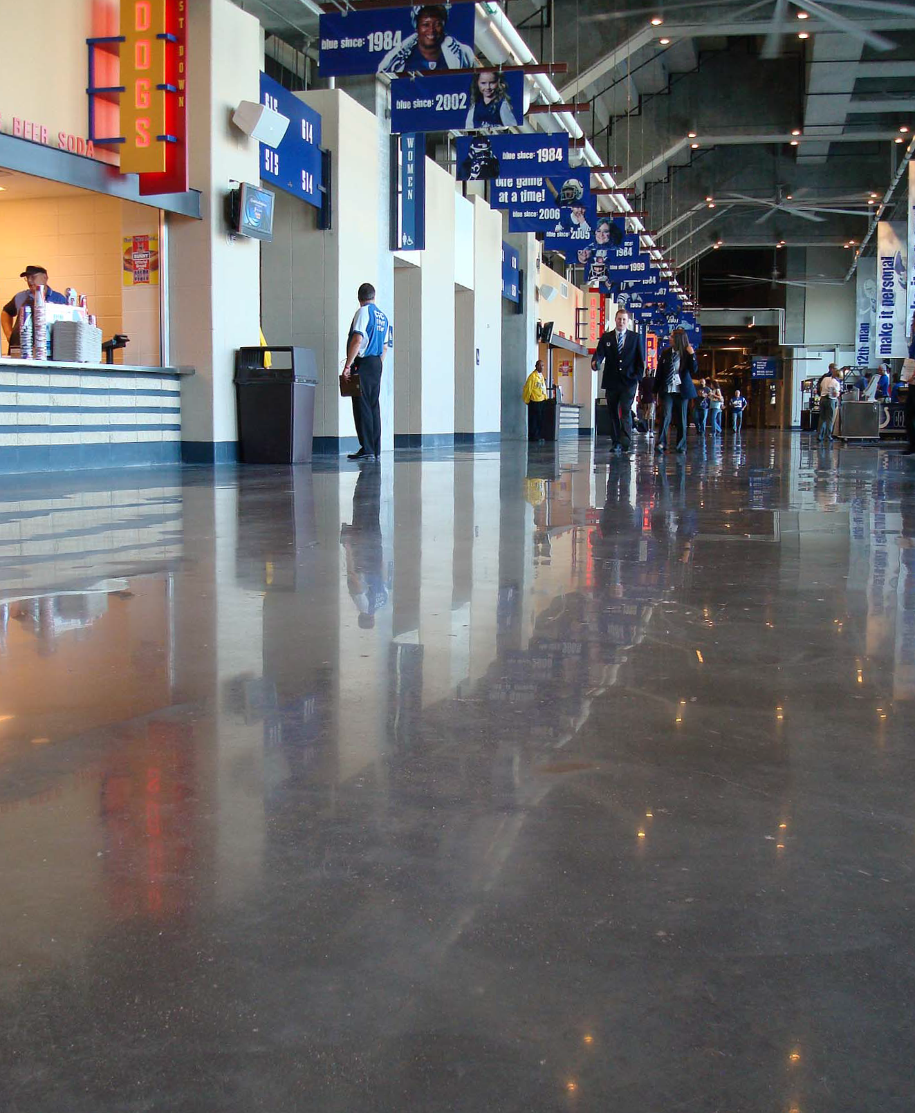 Lucas Oil Stadium, home of the Indianapolis Colts pro football team, as polished by American Concrete Concepts inc., of Springdale, Ark. Photos courtesy of American Concrete Concepts Inc.