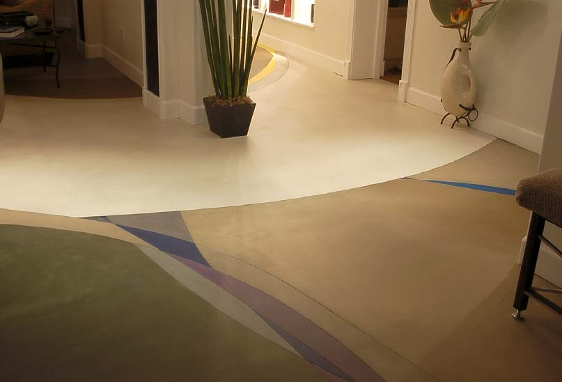 Concrete overlay in a living room multiple colors and soft lines