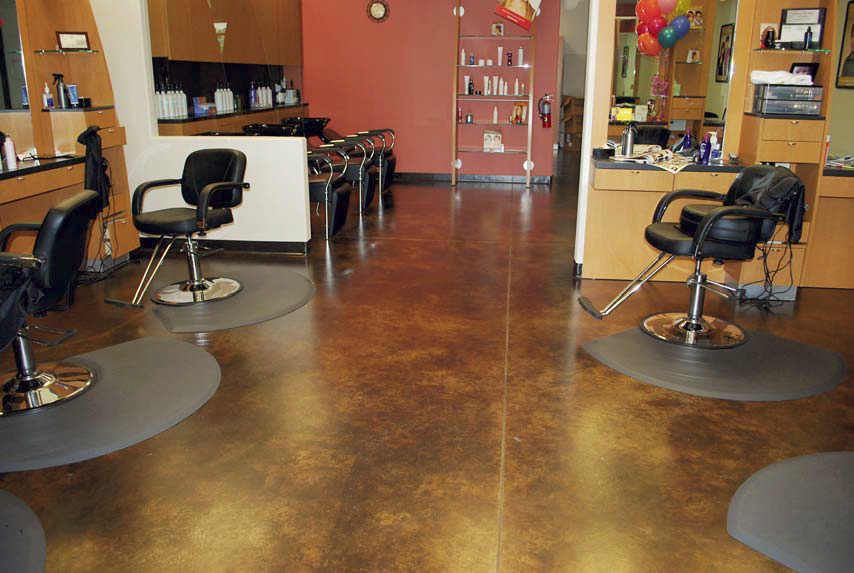 Acid stained concrete was the perfect floor for this salon.