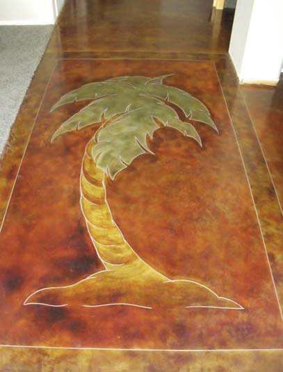 Palm tree stained onto this concrete floor with a lighter border.