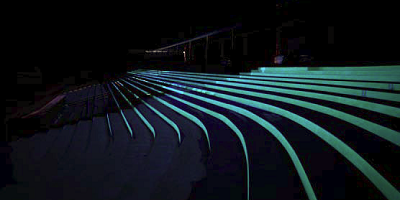 Glow in the dark coating painted on the risers of these steps.