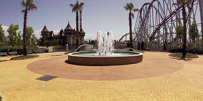 The 500,000 square feet of stamped concrete pathways and patios at the new Italian theme park Rainbow MagicLand look like no place else on Earth.