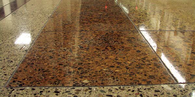 A dyed and polished concrete floor.