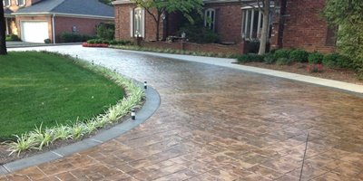 Stamped and sealed concrete driveway