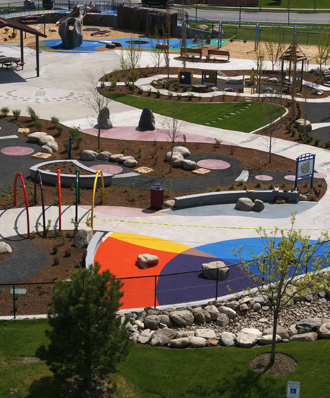 "From the human sundial to the giant trout in the ""splash pad,"" from the whimsical wavy walk to the radius wall emblazoned with a salmon's life story, the playground was conceived by Design Concepts, Lafayette, Colo., and realized in concrete set by Creative Surface Inspirations (CSI) LLC, of Spokane Valley Photos courtesy of Creative Surface Inspirations LLC"