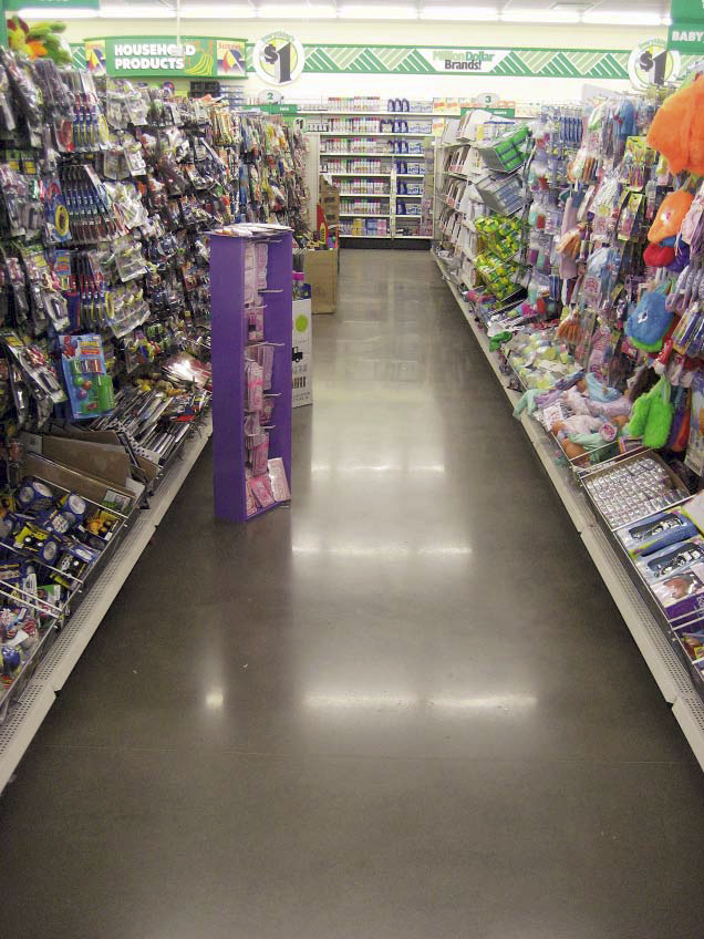 An aisle at the Dollar Store in charcoal gray.