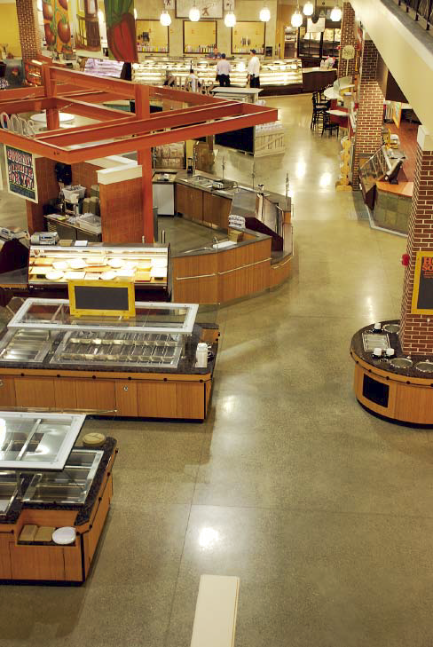 A buffet restaurant sees a lot of traffic so polished concrete was the best option for maintenance and cleanliness.