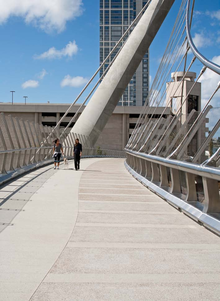 finish also appears on the Harbor Drive Pedestrian Bridge, a graceful structure that carries residents and visitors over San Diego's Harbor Freeway.