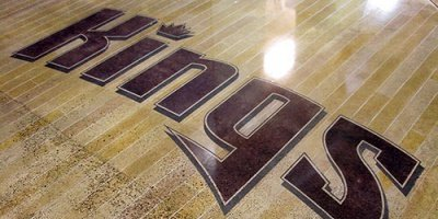 Sacramento Kings Basketball court concrete floor polished and engraved concrete.
