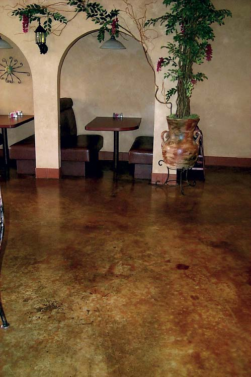 Stained concrete restaurant floor with a Mexican theme.