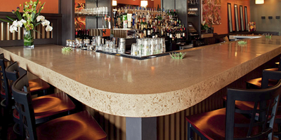 concrete countertop as a Bar top at a high-end restaurant