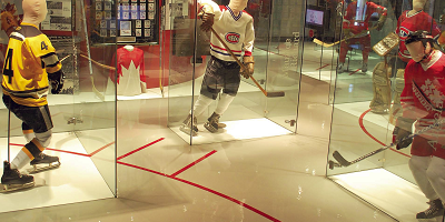 The floor of the Canada Sports Hall of Fame was transformed using epoxies into a virtual ice rink.