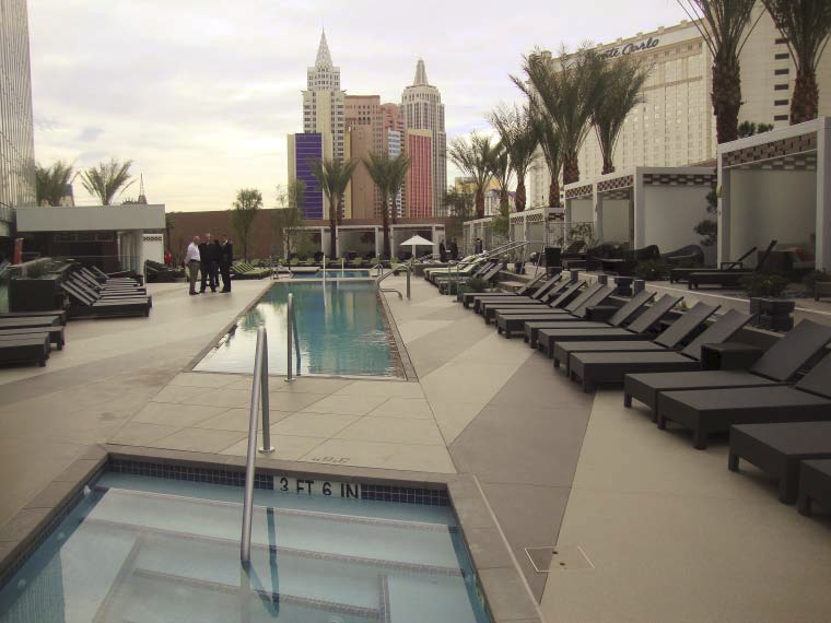 Renovated the pool deck at the Mandarin Oriental Las Vegas  using Dur-A-Flex's Hybri-Flex MQ.