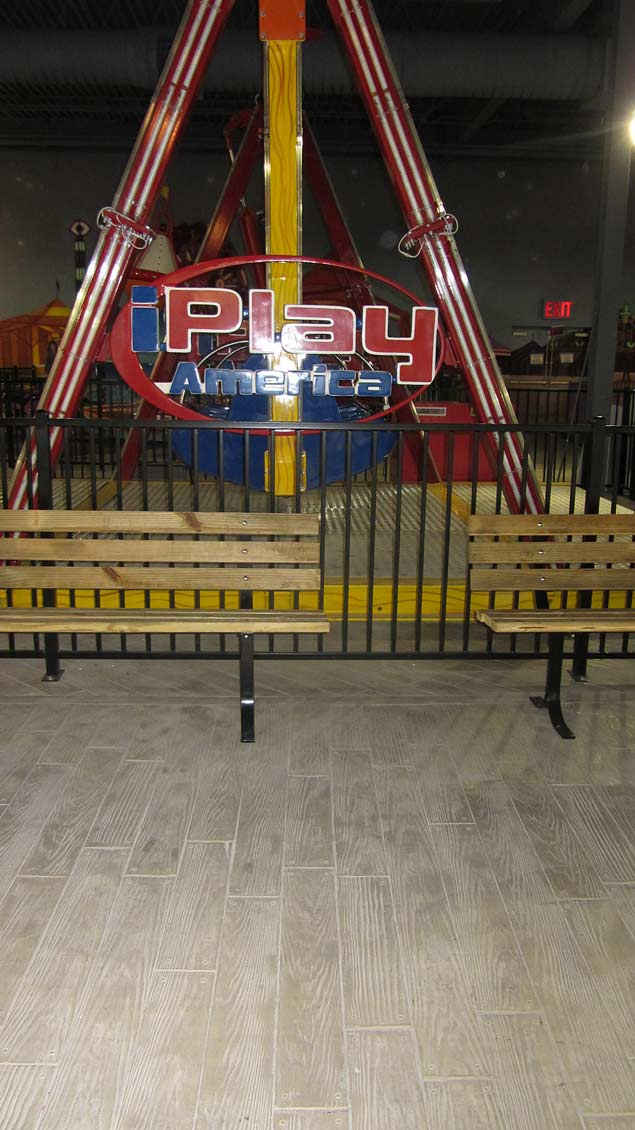 Wood plank concrete flooring in a New Jersey amusement park.