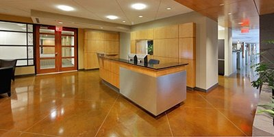 Reception area with a concrete countertop to give it a modern look.