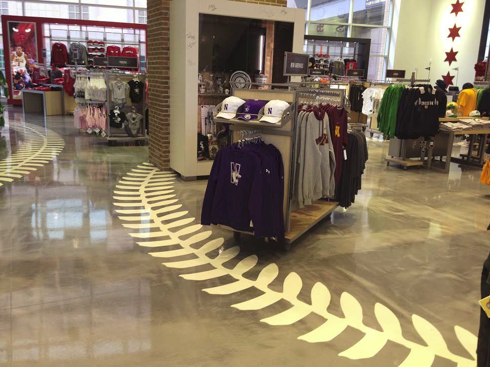 The chosen epoxy materials are intended for high-traffic surfaces, which gives the client peace of mind that the Chicago Sports Depot floors will hold up against excessive abuse.