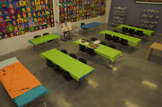 A polishable overlay was added into the middle school art space.