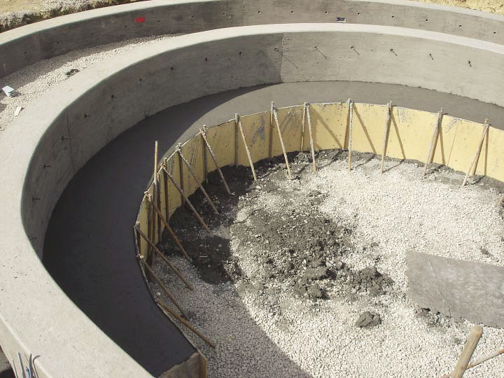 Forms created on the inner circle to create seating inside the concrete circle.